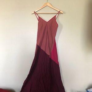 Tamar V Neck Pink & Burgundy Spaghetti Strap Dress
